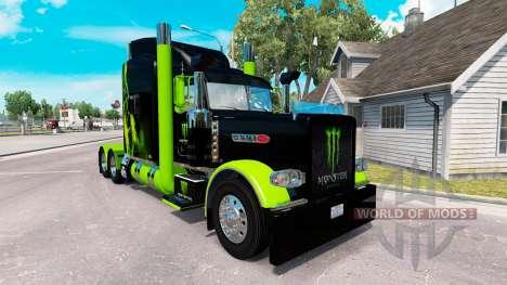 Скин Monster Energy Green на тягач Peterbilt 389 для American Truck Simulator
