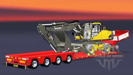 Низкорамный трал Doll Vario с экскаватором Volvo для Euro Truck Simulator 2