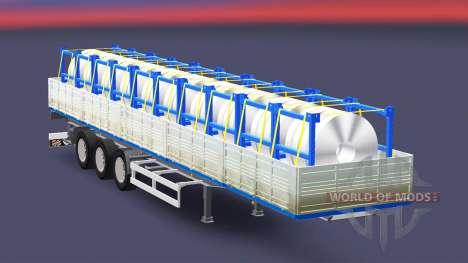 Бортовой полуприцеп с грузом стальных рулонов для Euro Truck Simulator 2