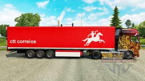 Скин CTT Correios de Portugal S.A на полуприцепы для Euro Truck Simulator 2