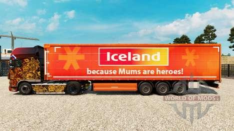 Скин IceLand на шторный полуприцеп для Euro Truck Simulator 2
