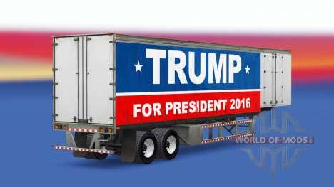 Скин Trump 2016 на шторный полуприцеп для American Truck Simulator