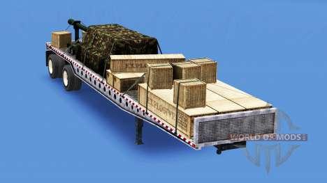 Полуприцеп-площадка с различными грузами v3.0 для American Truck Simulator
