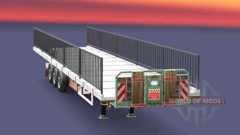 Полуприцеп-площадка с грузом элемента моста для Euro Truck Simulator 2