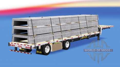 Низкорамный трал с строительными грузами для American Truck Simulator