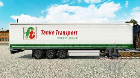 Скин Tanke Transport на шторный полуприцеп для Euro Truck Simulator 2