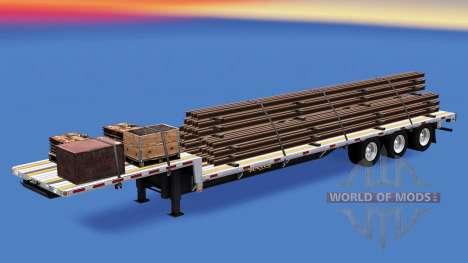 Низкорамный трал со строительными грузами v1.3 для American Truck Simulator