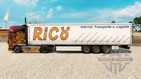 Скин Rico на шторный полуприцеп для Euro Truck Simulator 2