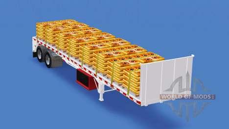 Полуприцеп-площадка с различными грузами v1.1 для American Truck Simulator