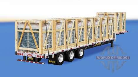 Низкорамный трал со строительными грузами v1.1 для American Truck Simulator