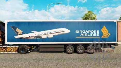 Скин Singapore Airlines на полуприцепы для Euro Truck Simulator 2