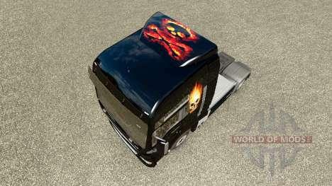 Скин Skull on fire на тягач MAN для Euro Truck Simulator 2