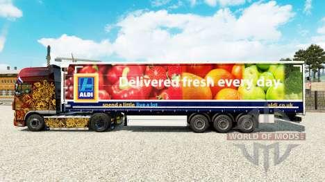 Скин Aldi Delivered Fresh на шторный полуприцеп для Euro Truck Simulator 2