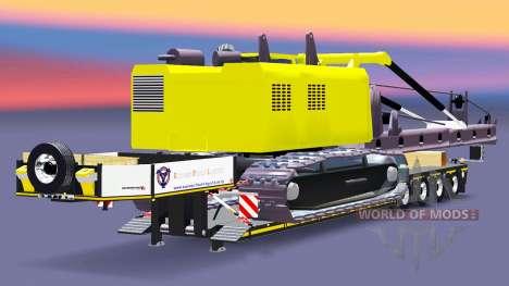 Низкорамный трал со сваебойной установкой для Euro Truck Simulator 2