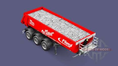 Полуприцеп-самосвал Schmitz Fliegl Red Power для Euro Truck Simulator 2