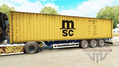 Полуприцеп-контейнеровоз MSC Crewing Services для Euro Truck Simulator 2