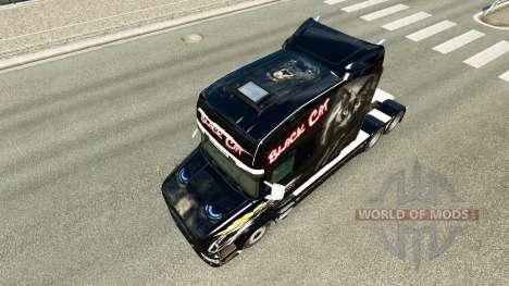 Скин Black Cat на тягач Scania T для Euro Truck Simulator 2