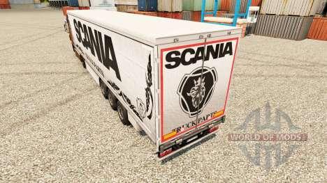Скин Scania Truck Parts white на полуприцепы для Euro Truck Simulator 2