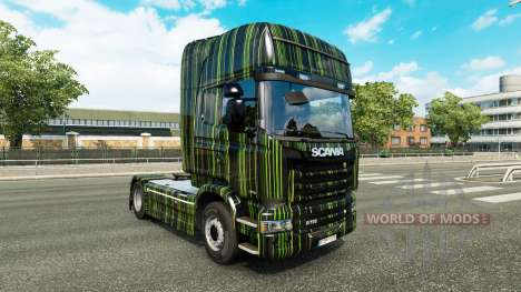 Скин Green Stripes на тягач Scania для Euro Truck Simulator 2