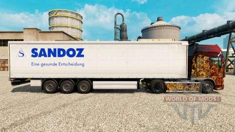 Скин Sandoz на полуприцепы для Euro Truck Simulator 2