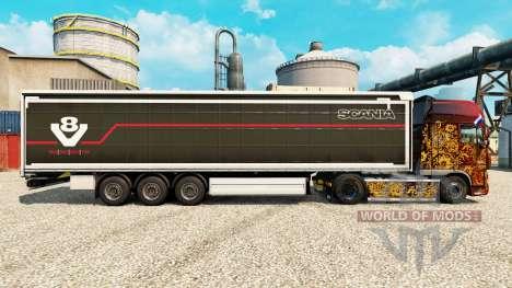 Скин Scania V8 на полуприцепы для Euro Truck Simulator 2