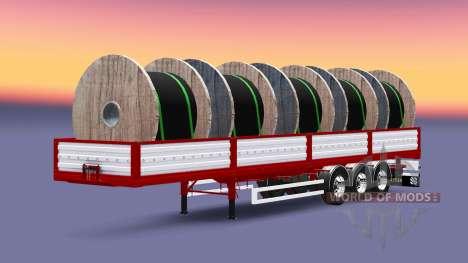 Бортовой полуприцеп с грузом кабеля для Euro Truck Simulator 2