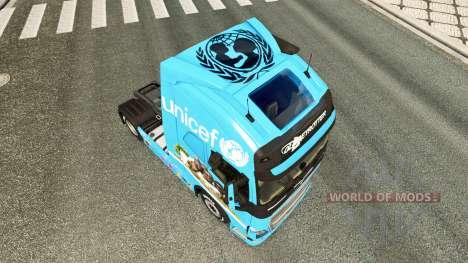 Скин Unicef на тягач Volvo для Euro Truck Simulator 2
