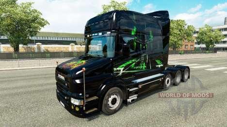 Скин Monster Energy v2 на тягач Scania T для Euro Truck Simulator 2