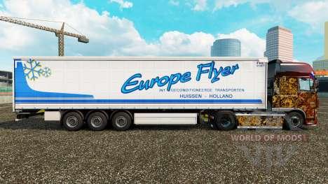Скин Europe Flyer на шторный полуприцеп для Euro Truck Simulator 2