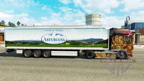 Скин Asturiana на шторный полуприцеп для Euro Truck Simulator 2