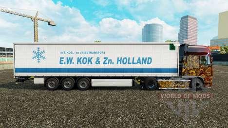 Скин E.W. Kok & Zn Holland на шторный полуприцеп для Euro Truck Simulator 2