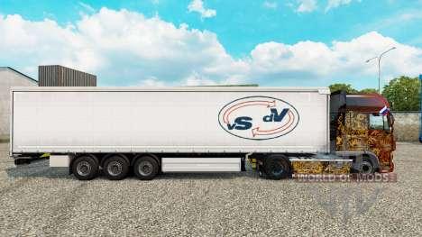 Скин Van Straalen De Vries шторный полуприцеп для Euro Truck Simulator 2