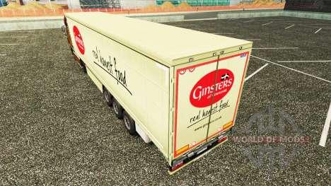 Скин Ginsters на шторный полуприцеп для Euro Truck Simulator 2