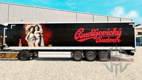 Скин Budweiser на шторный полуприцеп для Euro Truck Simulator 2