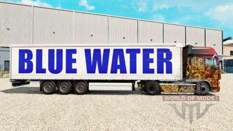Скин Blue Water на шторный полуприцеп для Euro Truck Simulator 2