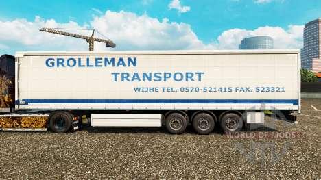 Скин Grolleman Transport на шторный полуприцеп для Euro Truck Simulator 2