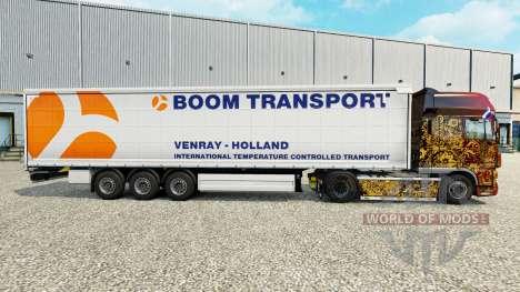 Скин Boom Transport на шторный полуприцеп для Euro Truck Simulator 2