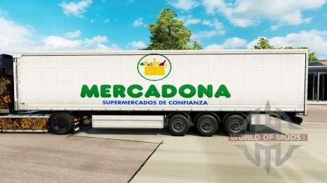 Скин Mercadona на шторный полуприцеп для Euro Truck Simulator 2