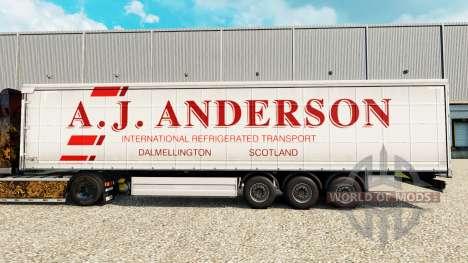 Скин A.J.Anderson на шторный полуприцеп для Euro Truck Simulator 2
