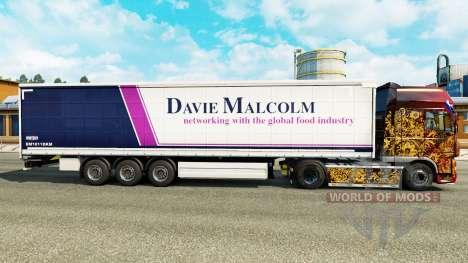 Скин Davie Malcolm на шторный полуприцеп для Euro Truck Simulator 2