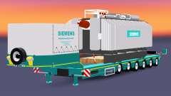 Низкорамный трал с грузом трансформатора Siemens