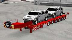 Низкорамный трал с автомобилями Hummer