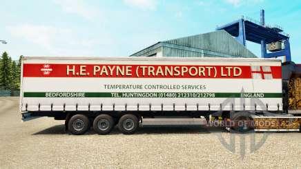 Скин H.E.Payne Transport на шторный полуприцеп для Euro Truck Simulator 2