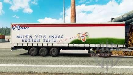 Скин Bauer на шторный полуприцеп для Euro Truck Simulator 2