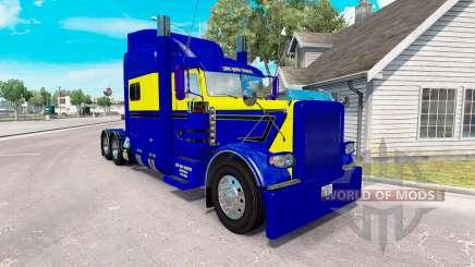 Скин Blue-yellow на тягач Peterbilt 389 для American Truck Simulator