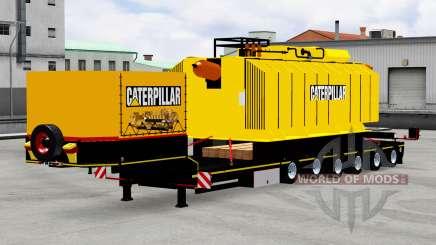 Низкорамный трал с трансформатором Caterpillar для American Truck Simulator