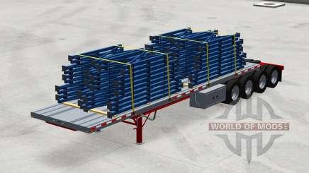 Четырёхосный полуприцеп-платформа с грузами для American Truck Simulator