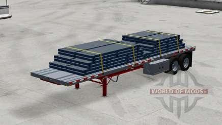 Двухосный полуприцеп-платформа с грузами для American Truck Simulator